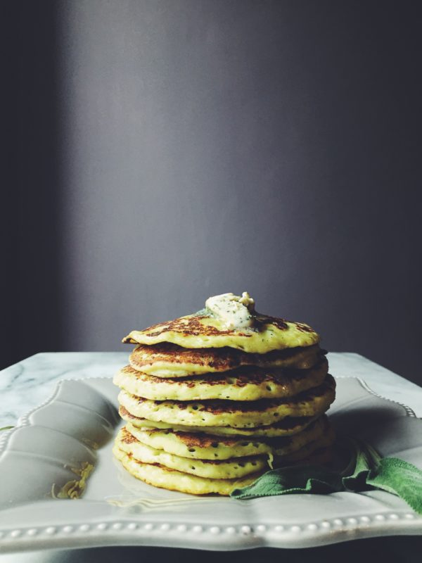 Italian cuisine recipes: a parmesan cheese, sage and nutmeg potato pancake.