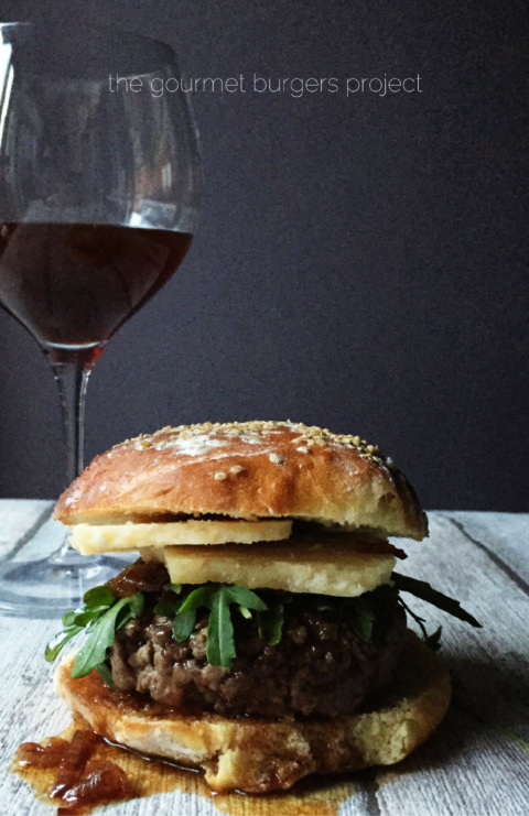 The parmesan & wine burger is another of the recipes from my Hamburger Gourmet book. I'm writing a book about wine, so this happened to be the perfect recipe. But I transformed it: from a French wine burger into an Italian wine burger. Recipe notes: I had a Brunello di Montalcino bottle opened, so I used this delicious Tuscan wine. I paired it with a wonderful 36 months aged parmesan cheese. Here's the result: a cheese plate inside a hamburger.