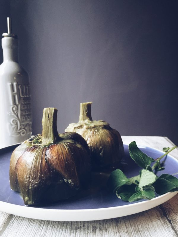 The Roman style artichokes recipe, made with mint, breadcrumbs and a hint of liquor.