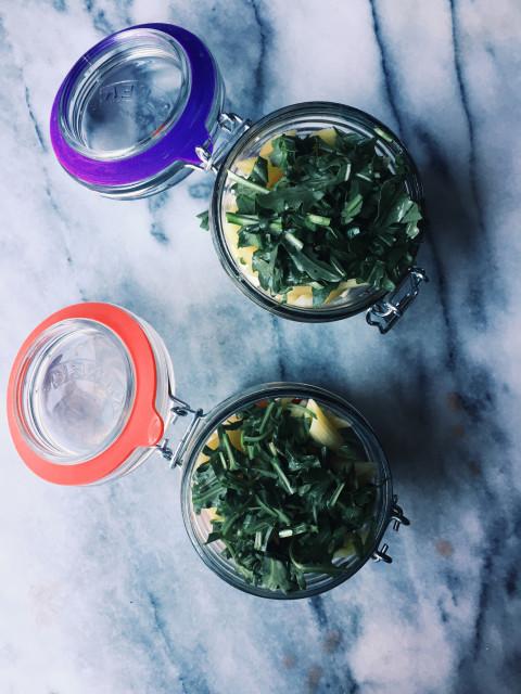 picnic pasta salad in a jar