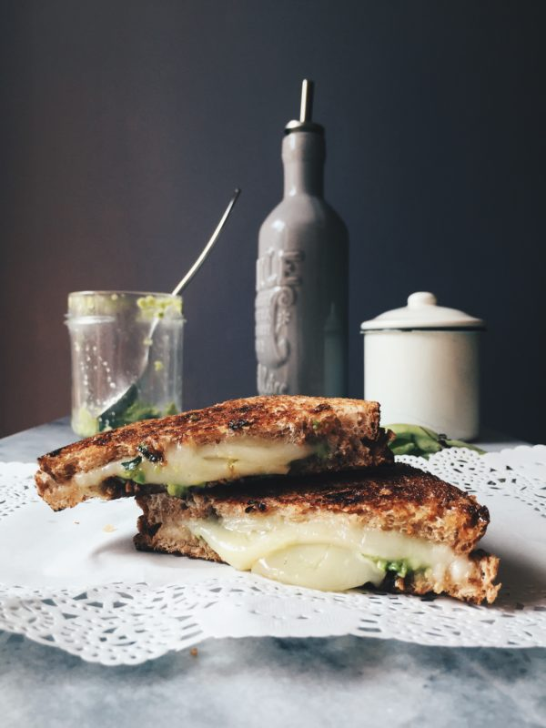 a grilled Italian sandwich recipe with pecorino cheese and fava beans pesto, to celebrate May Day the Roman way