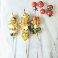 the skewer project by gourmet project: lemon leaves & scamorza skewers