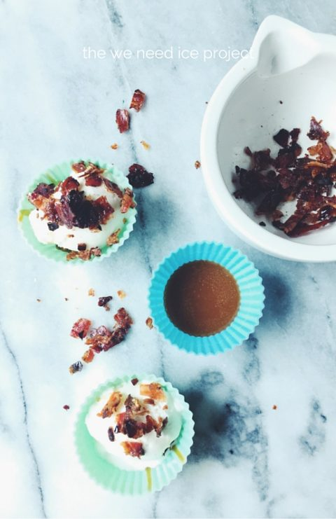 dulce de leche icecream cups with fior di latte gelato and Cointreau glazed pancetta flakes