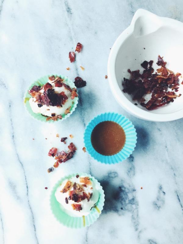 a gelato serving idea: fiordilatte cups with dulce de leche and glazed pancetta