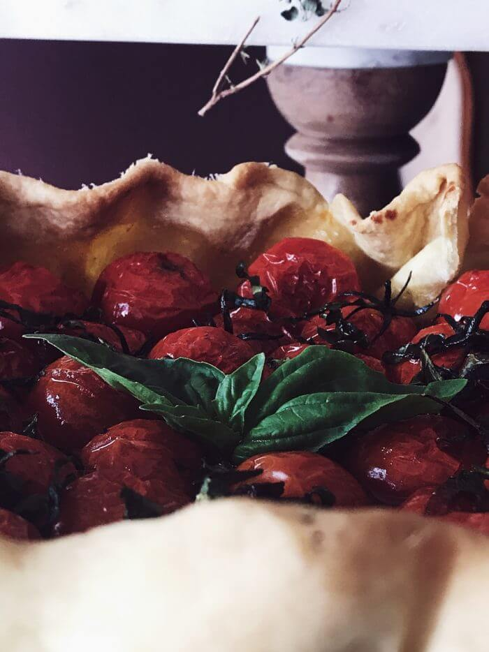 galette recipe with cherry tomatoes and balsamic vinegar