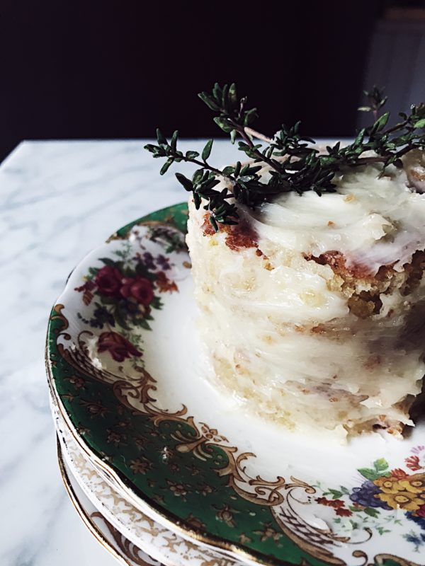 Italian cake recipes: white chocolate (or persimmon) white caprese cake with a thyme infused honey buttercream.