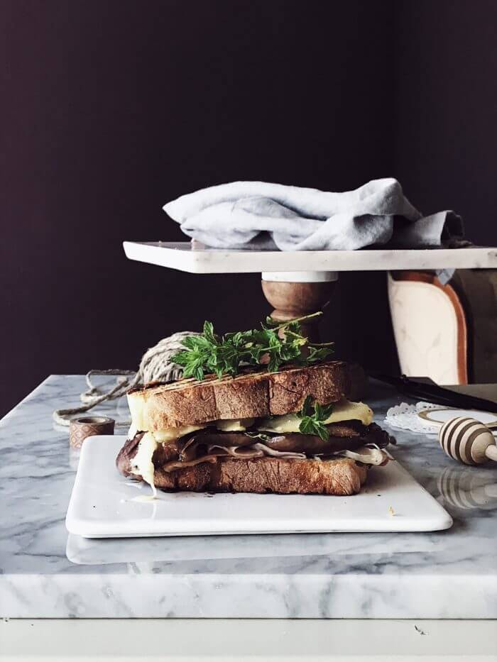 eggplant grilled cheese sandwich with prosciutto cotto #gourmetproject