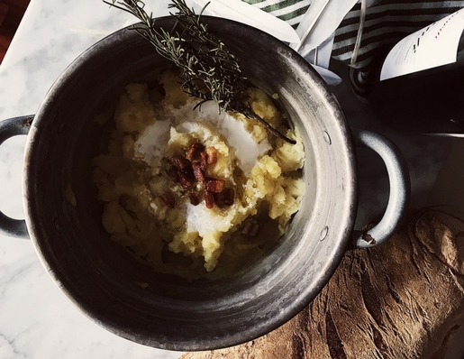 Italian Thanksgiving recipes: pancetta mashed potatoes with kefir. Get this Italian mashed potatoes and more gourmet Italian recipes on GP.