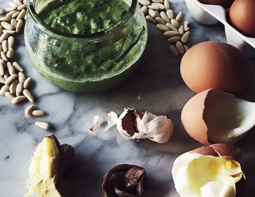 a dairy free pesto recipe: the egg yolk pesto