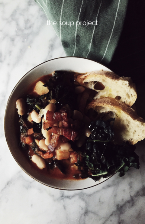 bread tuscan soup recipe: kale, potatoes and white beans to restore you from a cold, windy, winter day