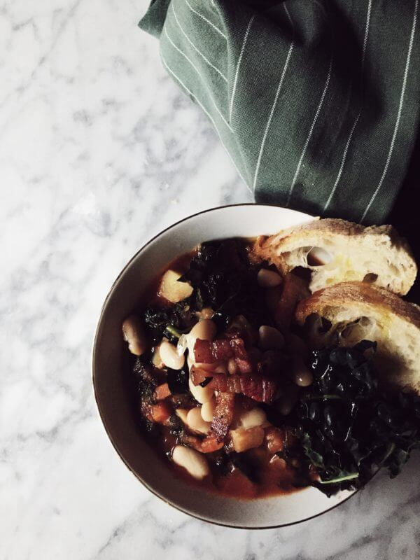 Tuscan white bean and kale soup recipe #gourmetproject #fallrecipes