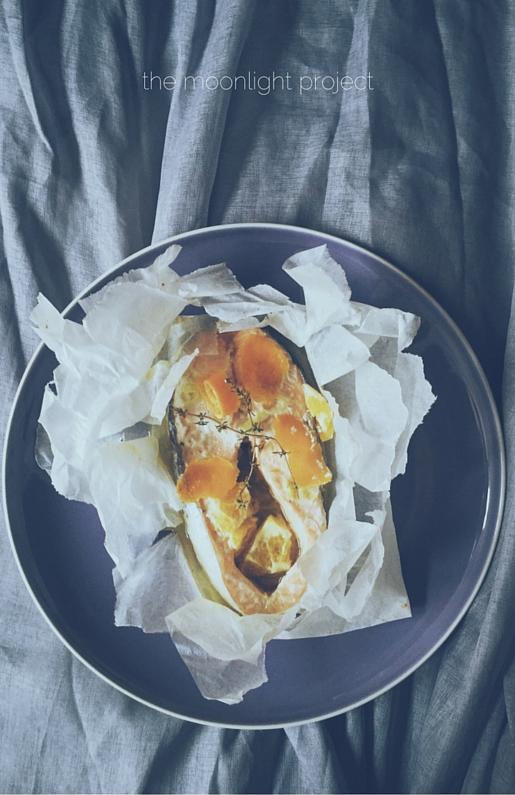an Italian salmon recipe: orange fish packets