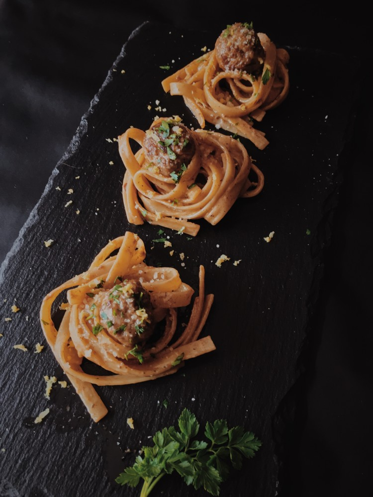 lemon spaghetti and meatballs by gourmet project