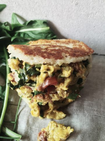 Colombian cheese arepas recipe made with parmesan cheese and healthy scrambled eggs with veggies