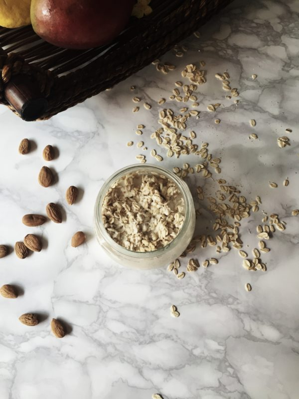 the super-healthy, overnight fermented oatmeal recipe, made with mango and chopped almonds
