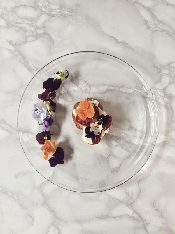 burrata bruschetta on a glass plate