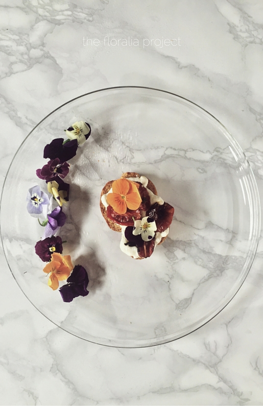 because we like them beautiful. oven roasted cherry tomatoes bruschetta with burrata cream and edible pansies