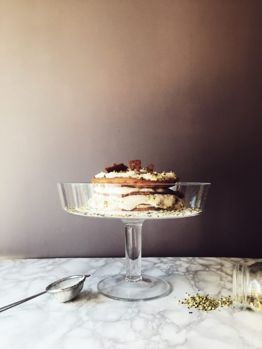 an Italian classic, deconstructed into a tower of cannoli shells and ricotta cream: a layered cannoli cake