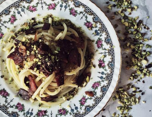 pistachio pesto pasta with pancetta
