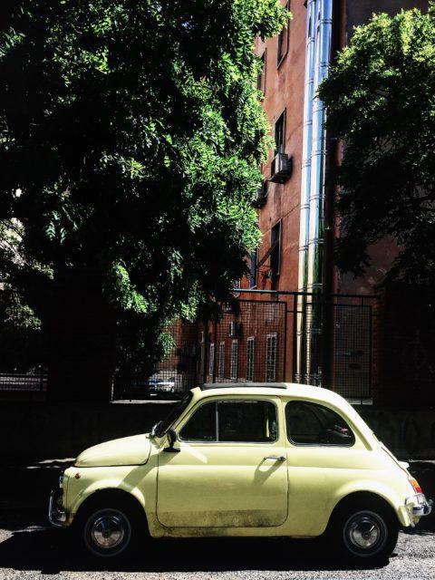 yellow cinquecento in rome