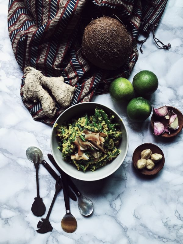 crunchy bean and roasted coconut salad with all the goodness of balinese slow cooking
