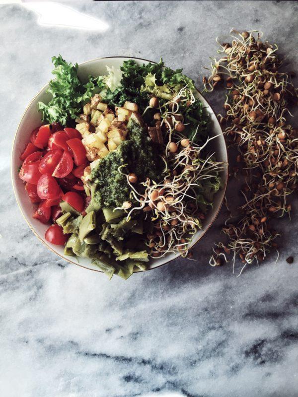 Italian salad recipes: a pan-roasted potato and pesto salad recipe