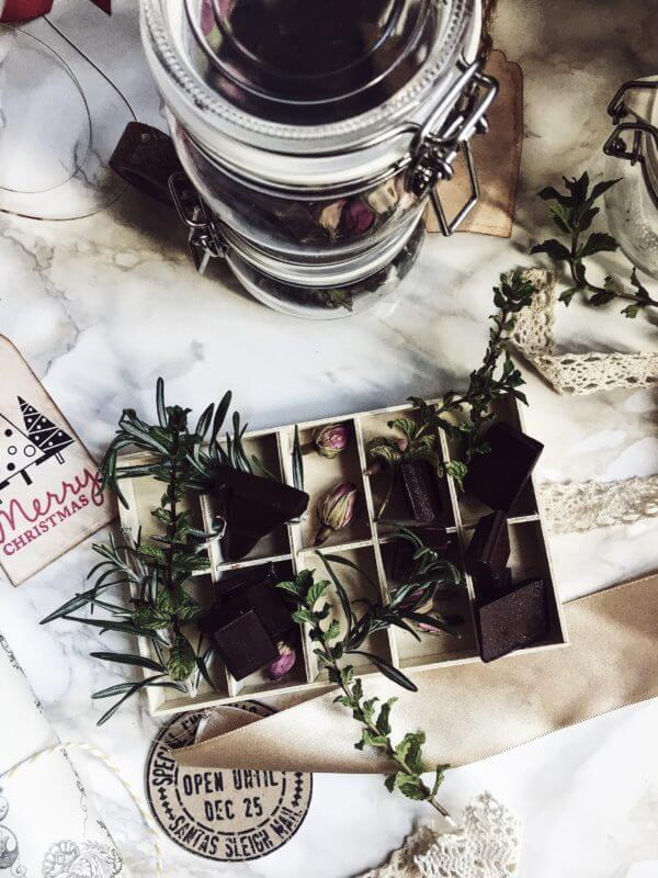 Herbal chocolates in a wooden box