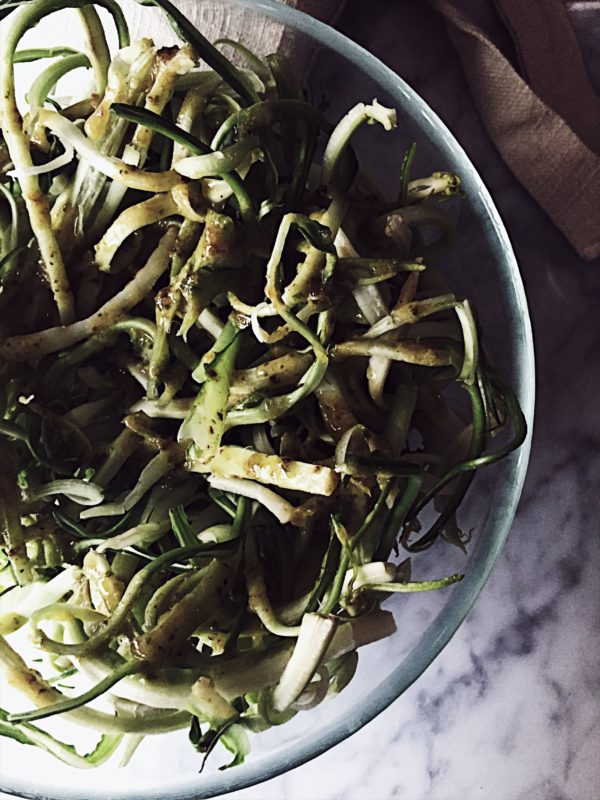 winter puntarelle salad recipe with an olive oil, anchovies and pesto emulsion