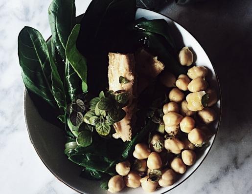 chickpea tuna salad with chard, oregano, and olive oil