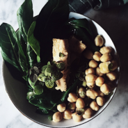 healthy italian recipes: a chard, chickpeas and tuna warm salad