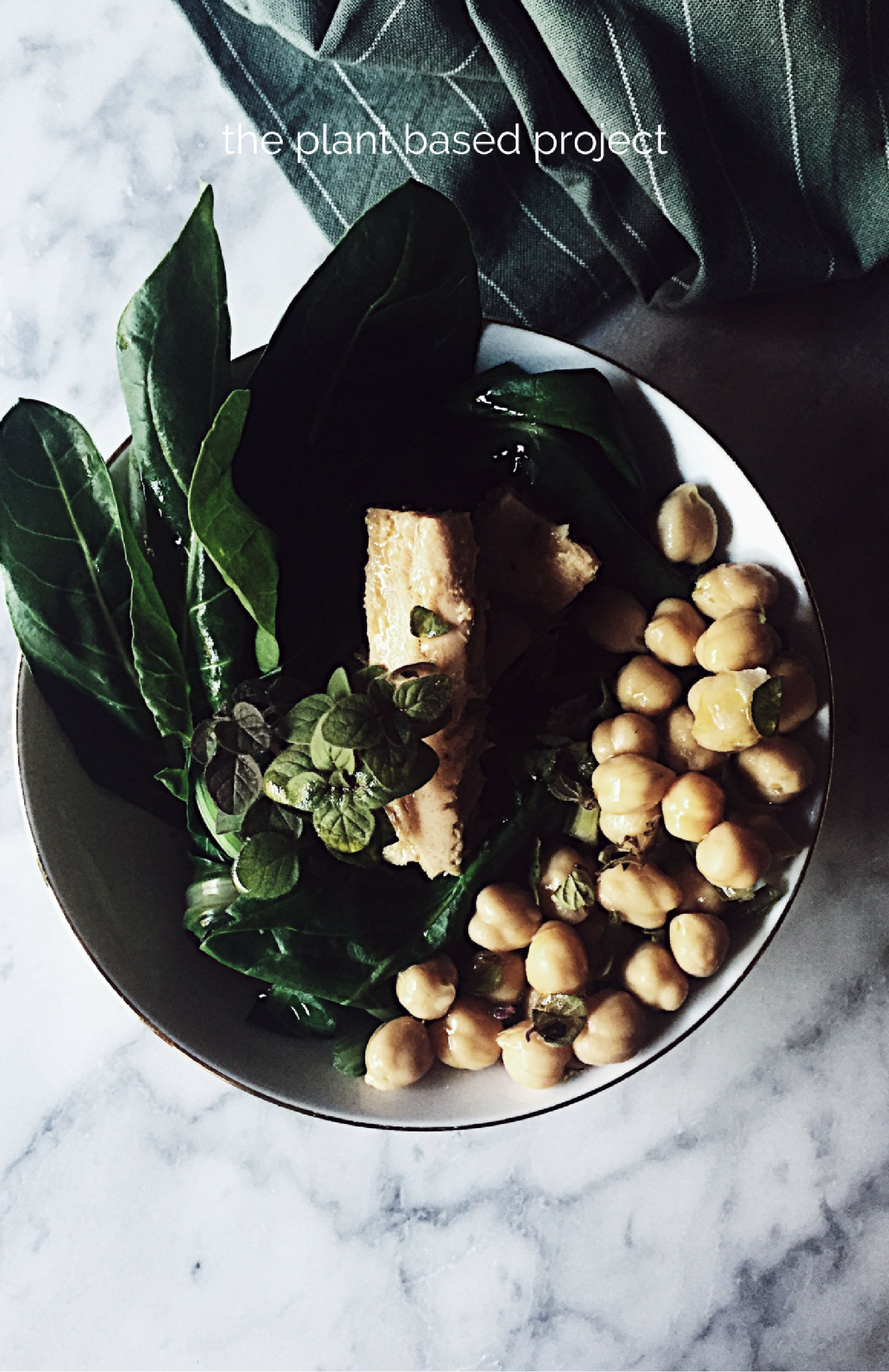 healthy italian recipes: a chard, chickpeas and tuna warm salad