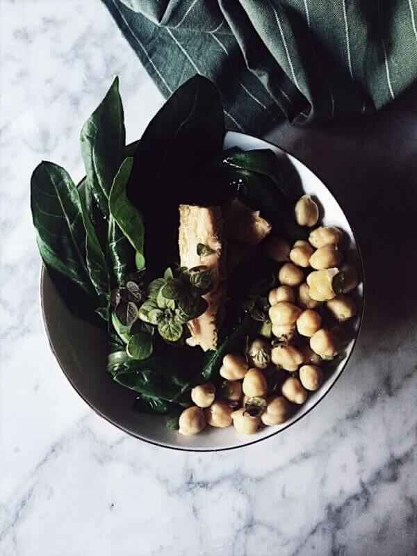 chickpea tuna salad with chard oregano and olive oil
