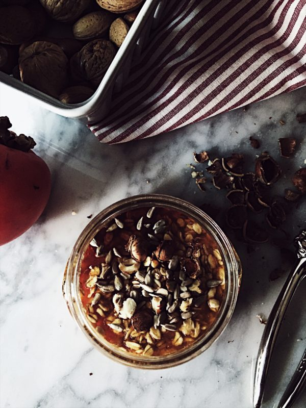a dairy-free, plant based, alternative overnight oatmeal recipe. with sweet and delicious persimmon