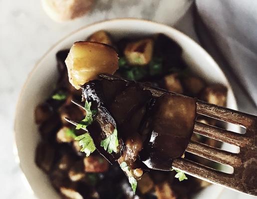 Eggplant funghetto:  Italian sauteed eggplants
