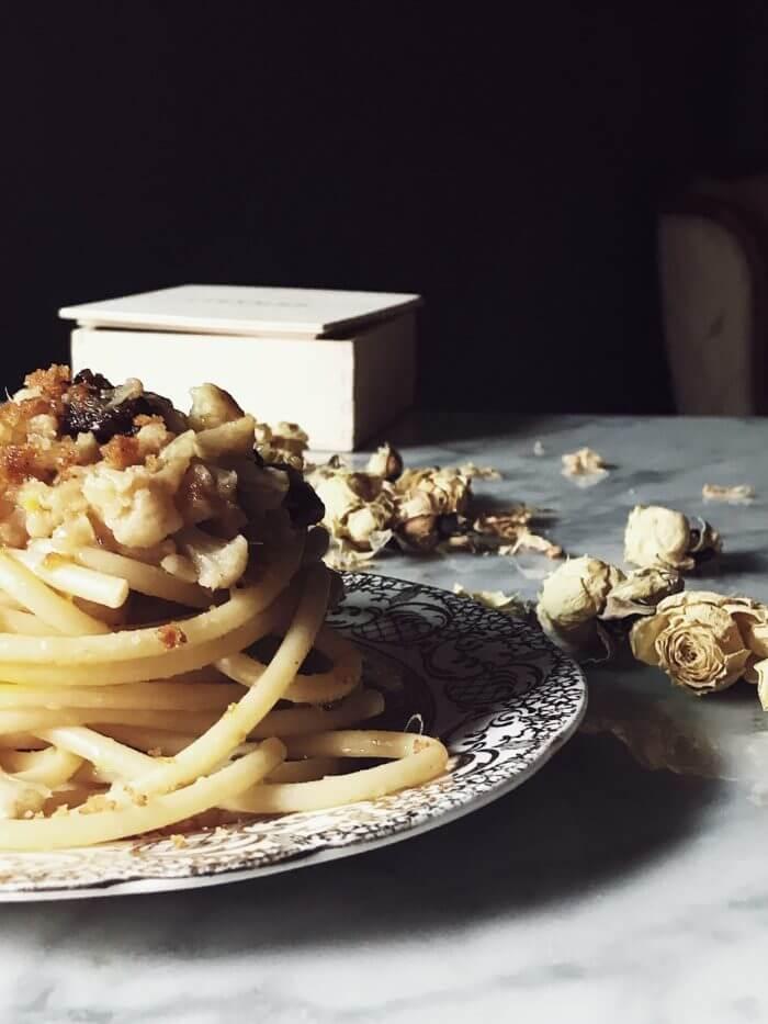 cauliflower pasta sauce on bucatini pasta