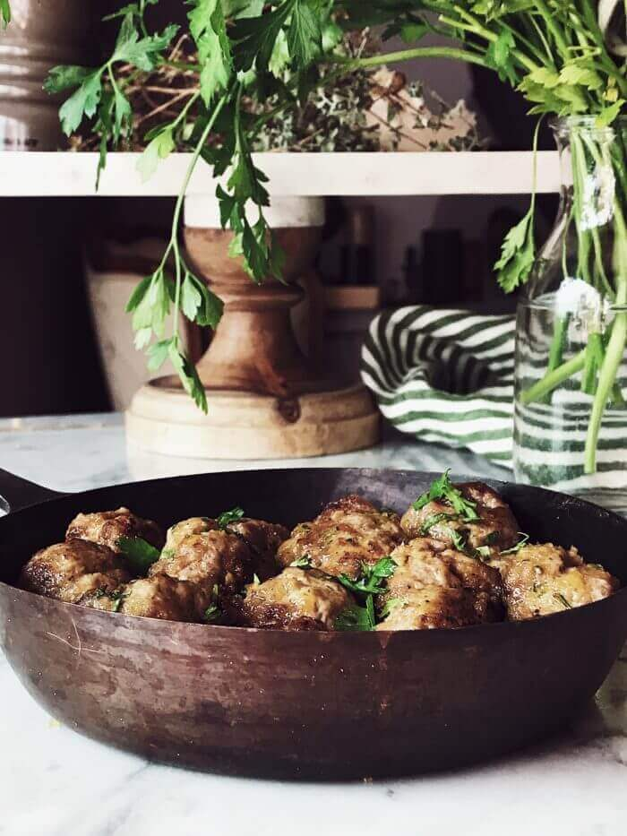 authentic Italian meatballs in a pan