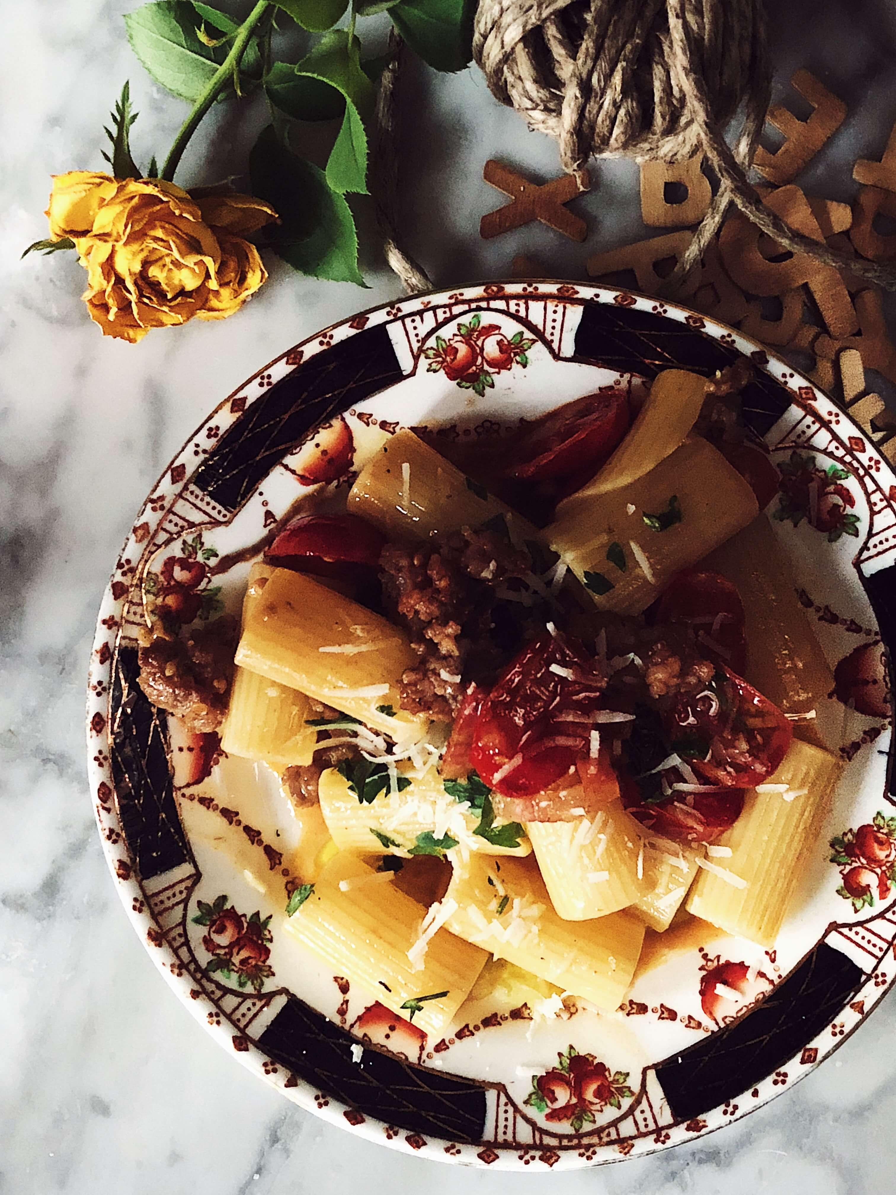 sausage pasta recipe from Rome