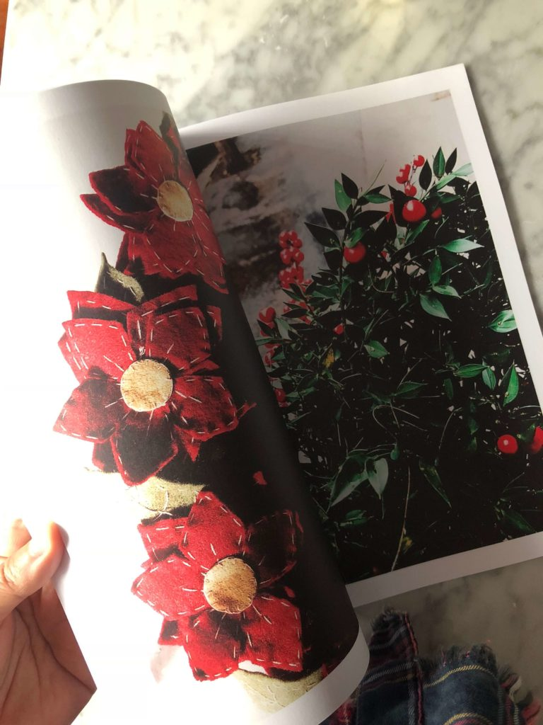 a page of the Gourmet Mag with Christmas flowers