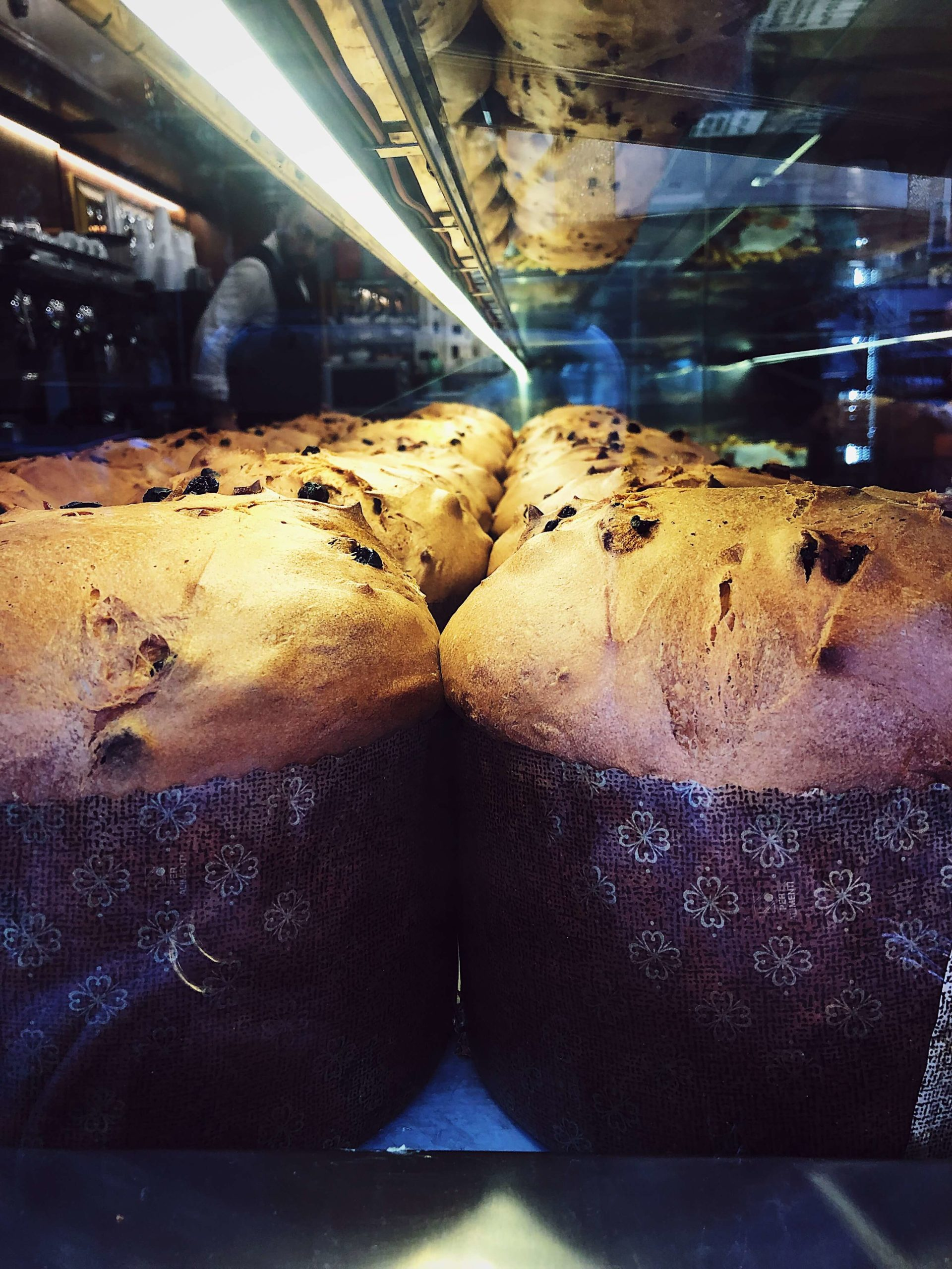 Christmas Eve panettone in a pastry shop