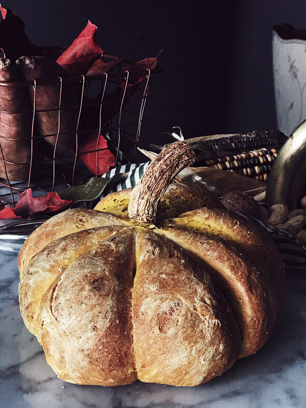 food magazine pic of a pumpkin shaped bread