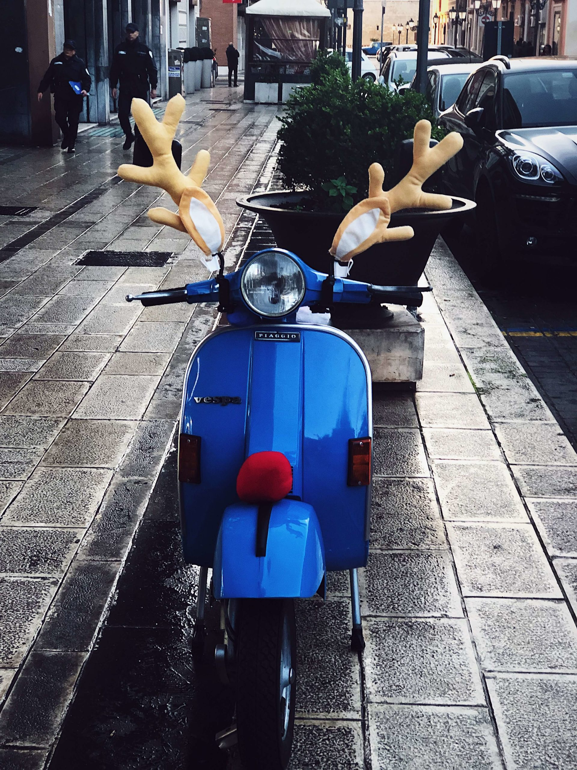 Christmas decorated vespa