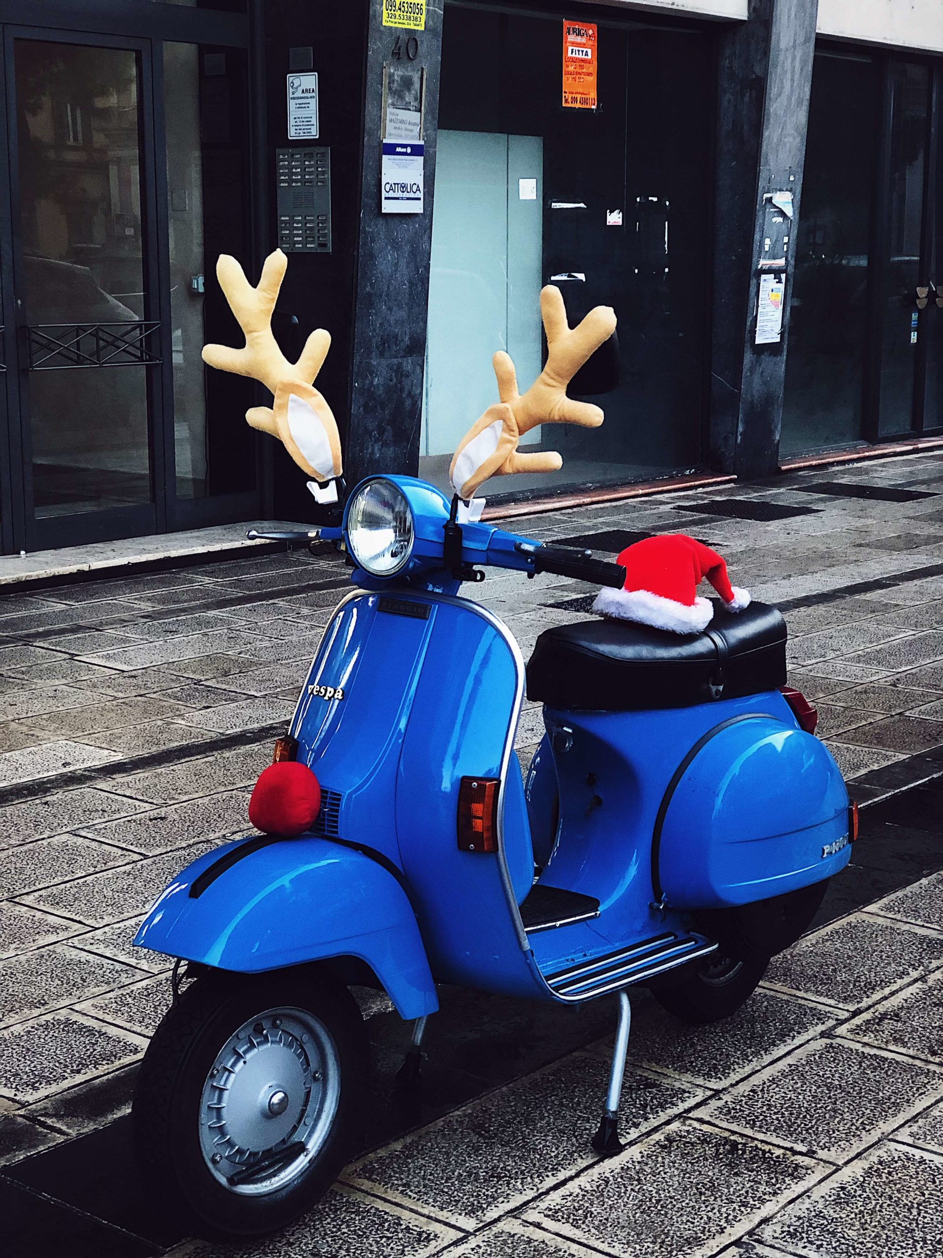 Christmas decorated Italian scooter