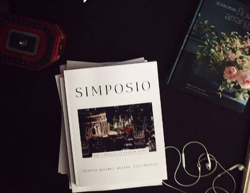 Italian food magazine Simposio on a table