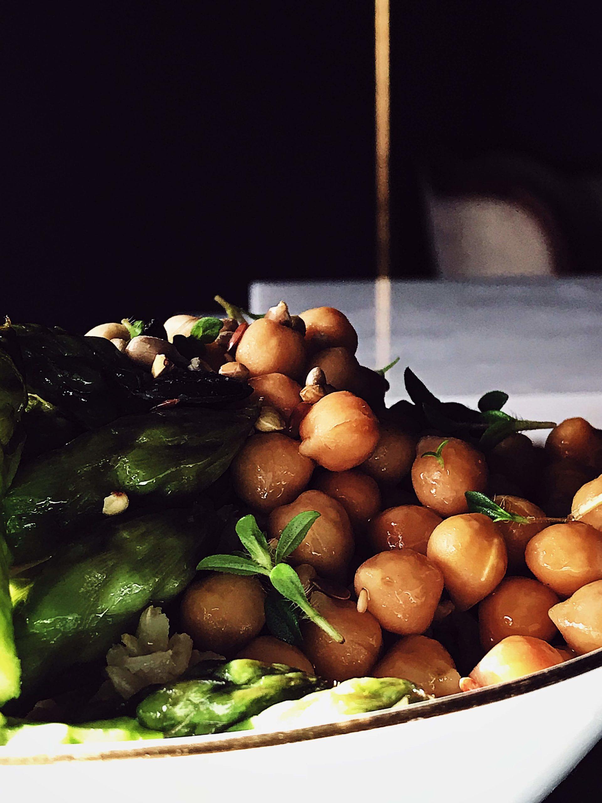 asparagus rice bowl with chickpeas