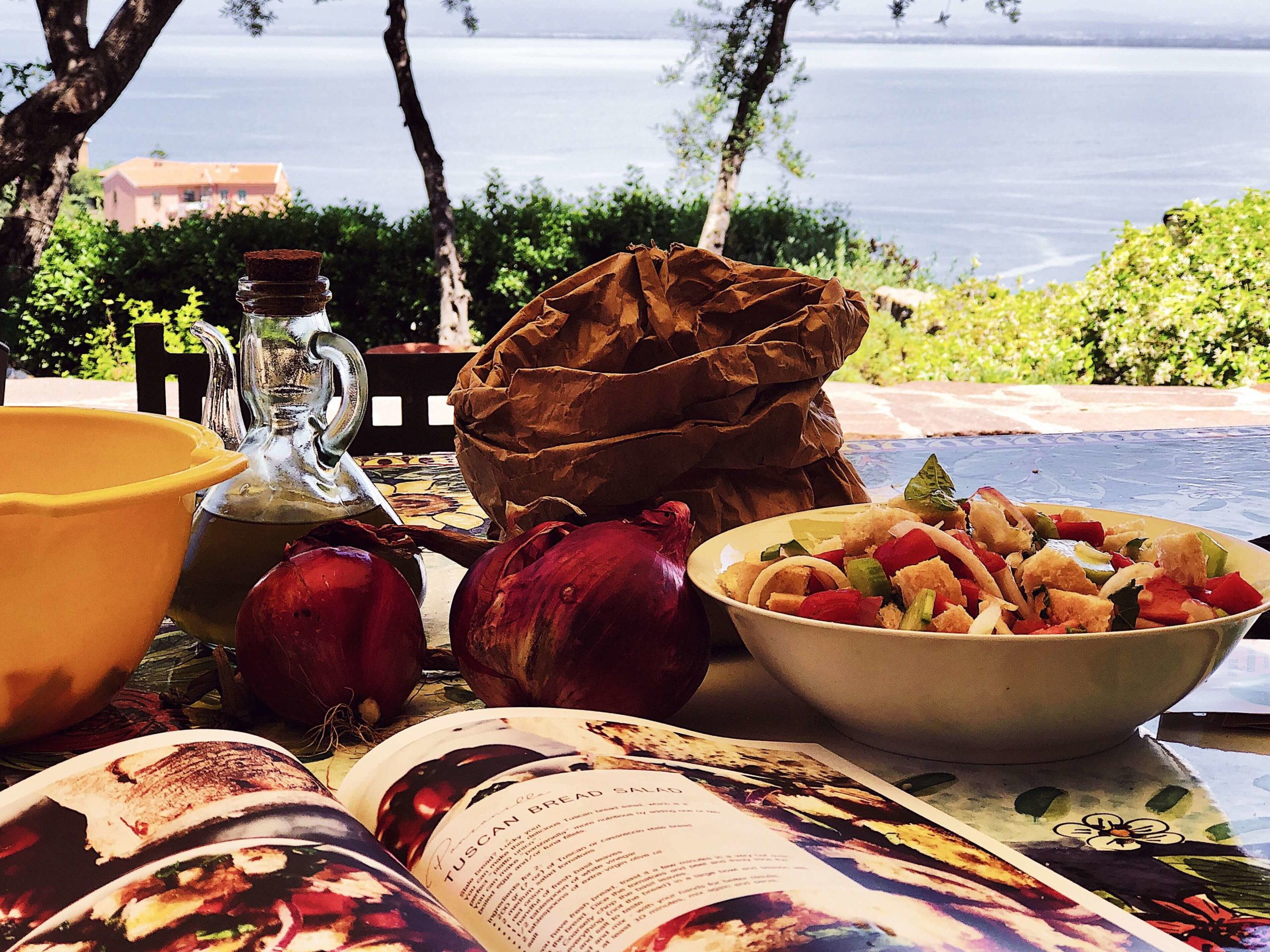 panzanella salad served for lunch with a summer Tuscan view