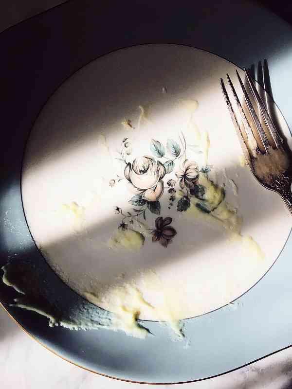 Italian potato puree empty plate