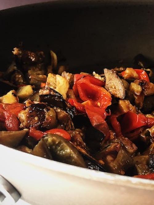 cooking the Italian eggplant pasta sauce